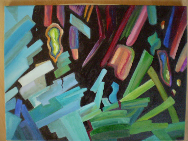 ALCHEMY, abstract, original oil on canvas, signed  joli, 16/11,8 in