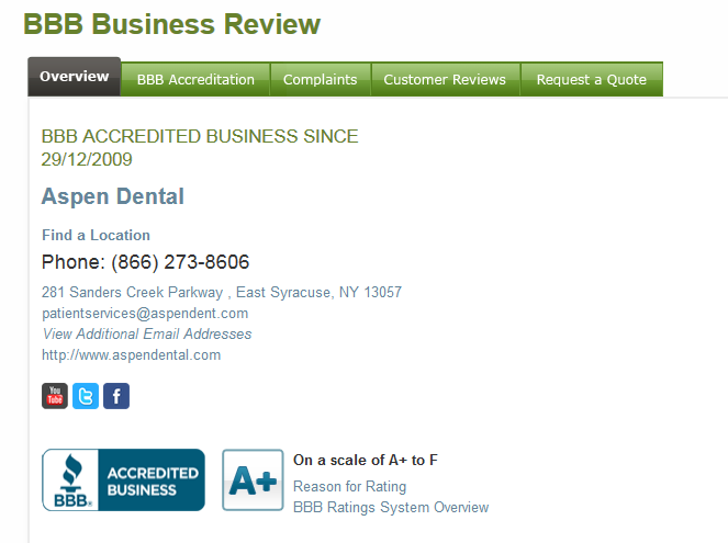 aspen dental bbb reviews