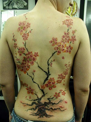 Girls Back Cherry Blossom Tattoo Desingns