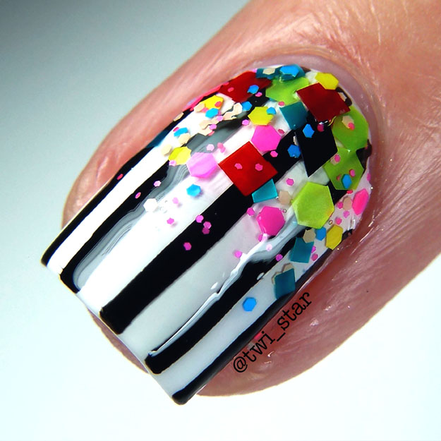 Love Angeline Stuck on Love Nail Shields Stripes swatch