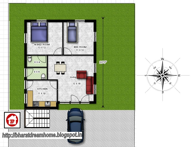 Bharat Dream Home 2 Bedroom Floor Plan 800sq Ft East Facing