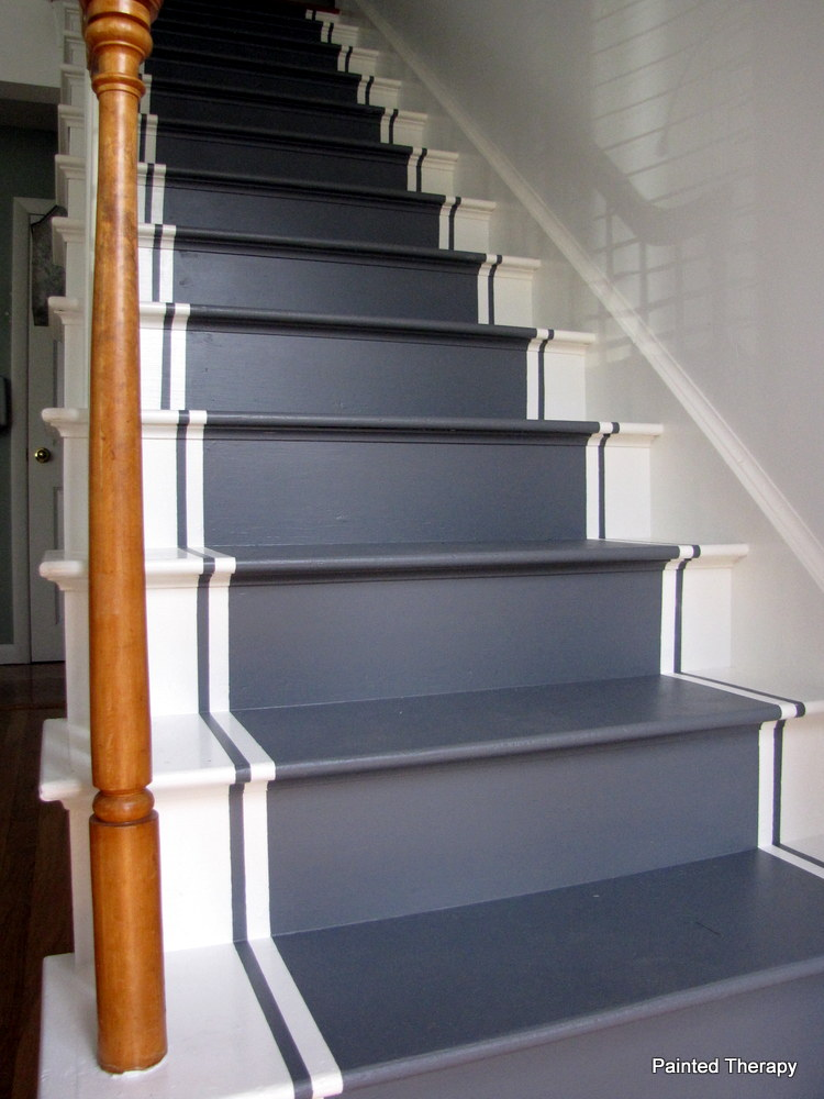 Painted therapy painting your stairs for Painted stair treads