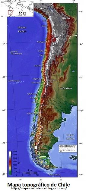 Mapa topográfico de Chile