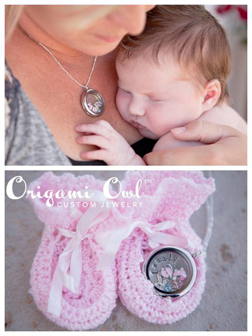 New Mom Baby Girl Origami Owl Living Locket from StoriedCharms.com