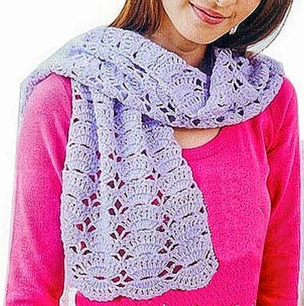 Bufanda al crochet muy femenina - con esquema | Crochet y Dos agujas ...