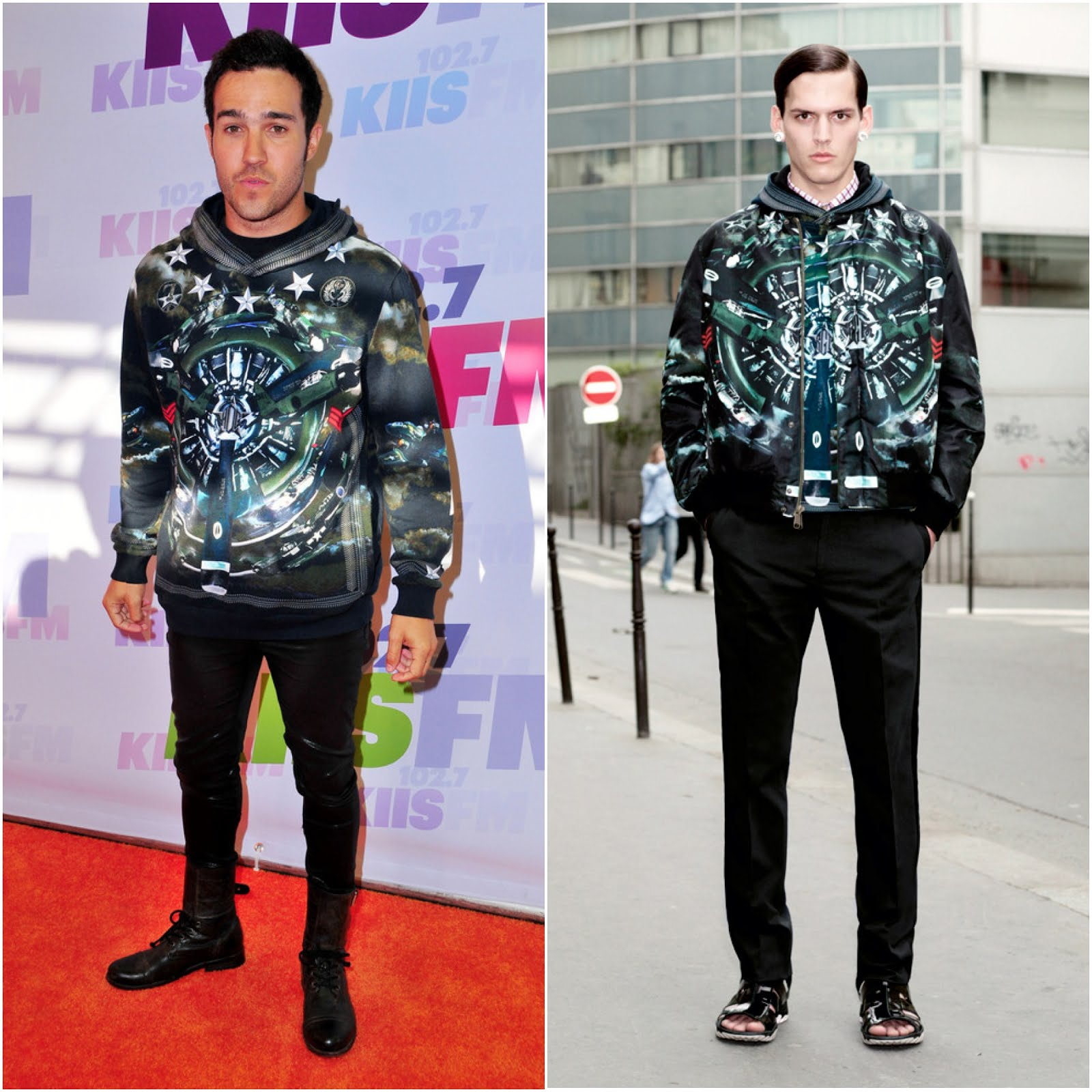 00O00 Menswear Blog: Pete Wentz and DJ Afrojack in Givenchy Spitfire print - 102.7 KIIS FM's Wango Tango May 2013
