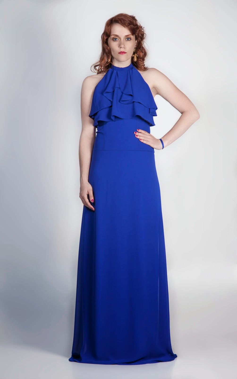 Vestido Largo azul eléctrico
