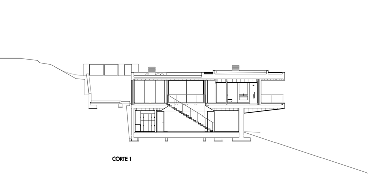 Side section of Modern Villa Escarpa by Mario Martins
