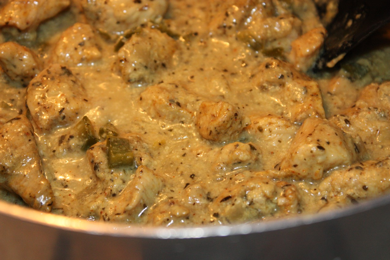 pass the peas, please: basil chicken in coconut curry sauce