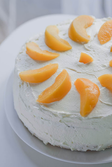 Peach torte, birthday peach cake