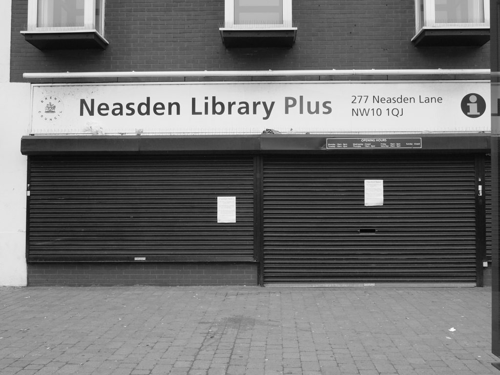 Neasden Library with shutters down