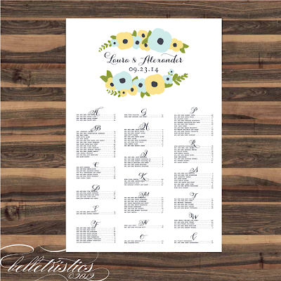 romantic hand drawn floral printable diy reception seating chart poster