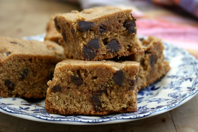 Gluten free almond butter quinoa blondies are extra moist.