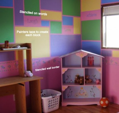 Pink girls room with bricks