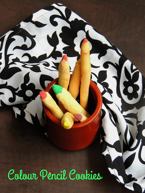 Eggless colour pencil cookies, pencil cookies, colour pencil cookies
