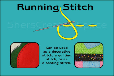 running stitch, running stitch tutorial, applique tutorial, sewing tutorial, embroidery tutorial