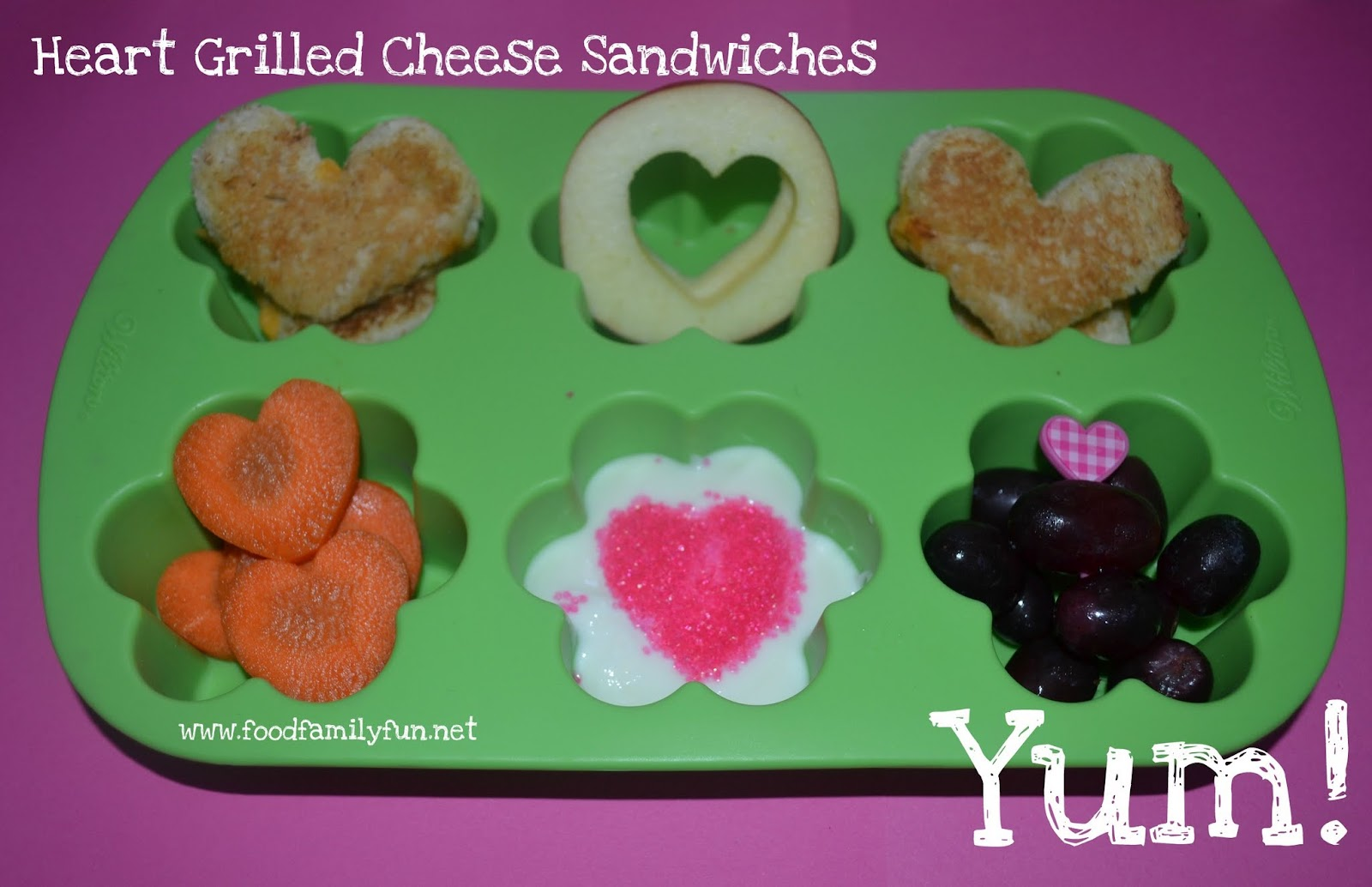 heart shaped grilled cheese sandwiches, apple heart cutouts,