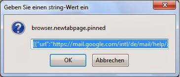 Firefox - Eintrag browser.newtappage.pinned