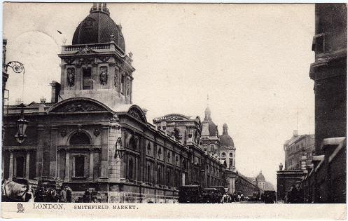 Vintage postcard of Smithfield Market, London
