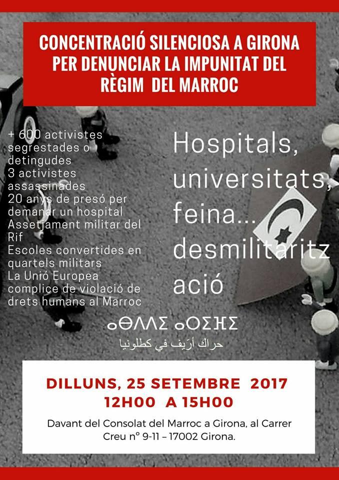 Concentració solidària a Girona per denunciar la impunitat del regim del Marroc contra el Rif