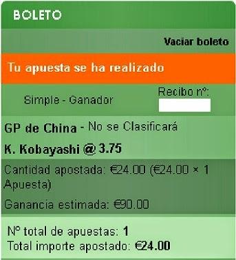 Apuestas Deportivas Rosberg Formula 1- Gran Premio de China Kobayashi Sportium
