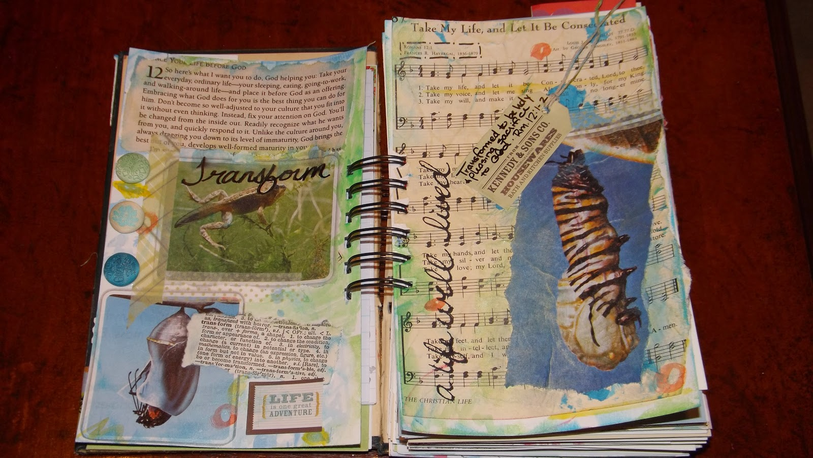 "My Take Me Deeper art journal spread for the ""transformation"" challenge."