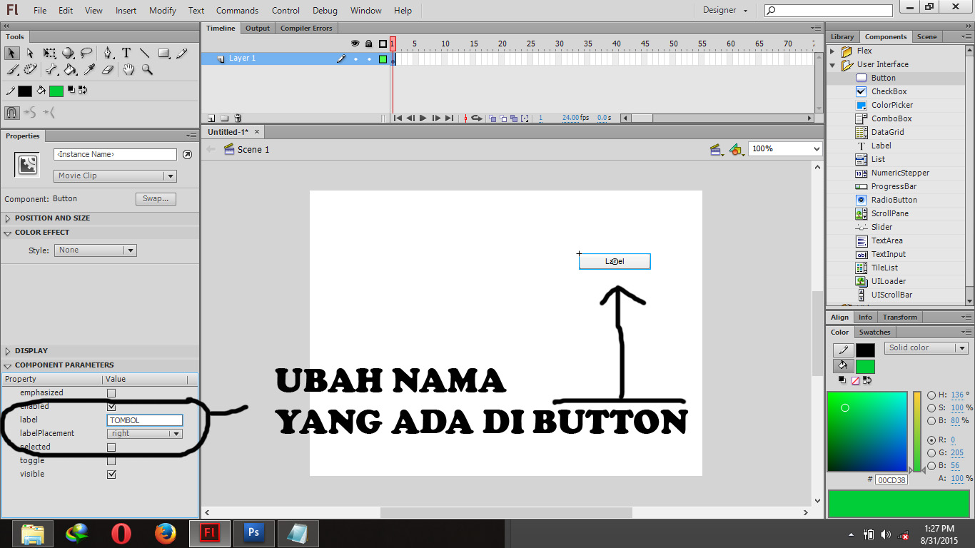 how to make a button in flash cs6