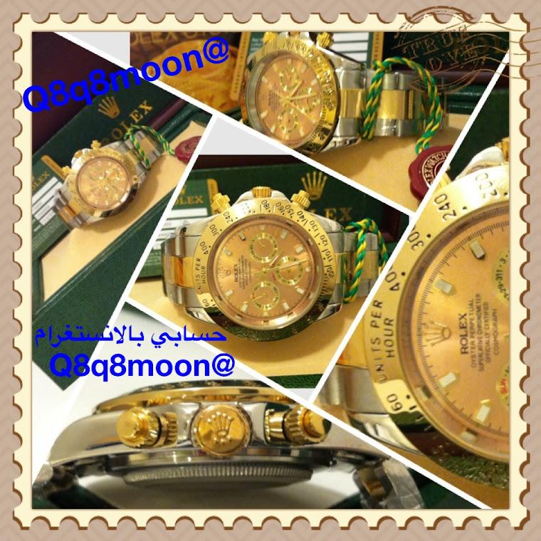 ساعة رجالي تقليد رولكس دايتونا (لون فضي بذهبي مينا ذهبي ) بالعلبه و الكرت و الاوراق