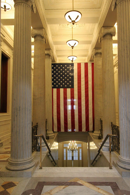 The Giant US flag at United States Capitol in Washington DC, USA
