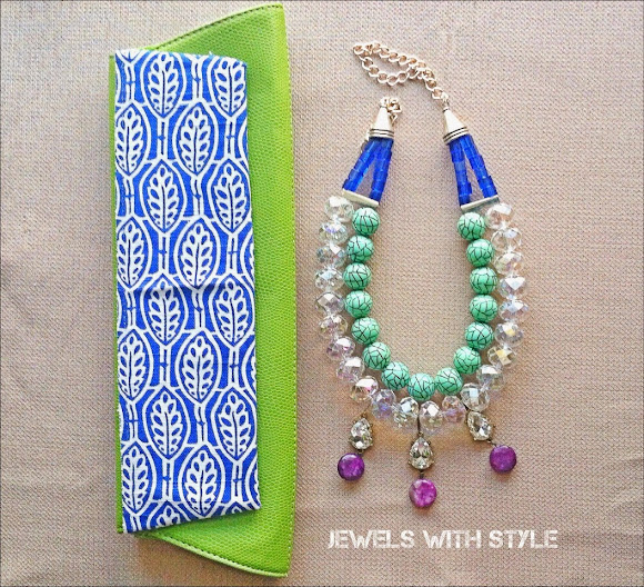 clutch makeover, DIY clutch, DIY purse, M Renee Design, Statement Necklace, handmade necklace, jewels with style, blue high heels, do it yourself purse,