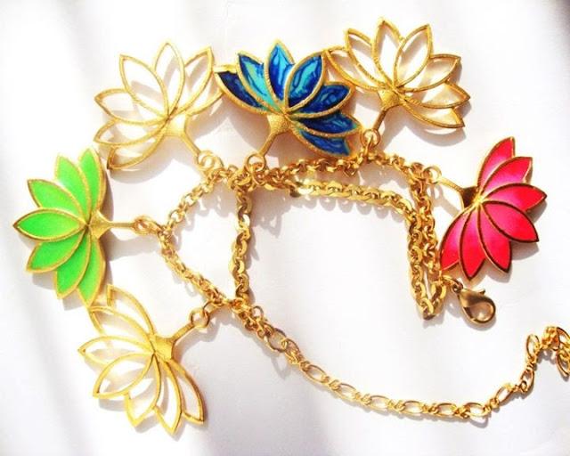 Aditi bhatt accessories, lotus charm bracelet, gold & enamel bracelet, enamel jewelry