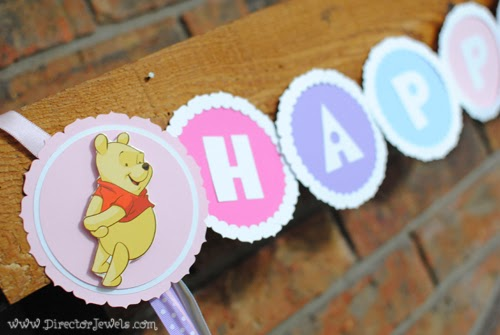 Silhouette Portrait Banner for Disney Winnie the Pooh Birthday Tea Party Theme for Toddlers. 2nd Birthday Party Ideas. Come to tea with Piglet, Eeyore, Rabbit, Owl, Christopher Robin.