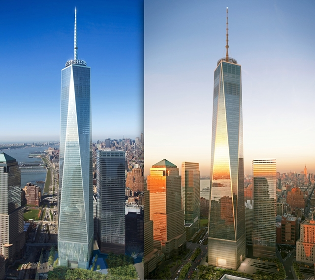 Rendering of redesigned One World Trade Center by Skidmore, Owings & Merrill LLP (SOM)
