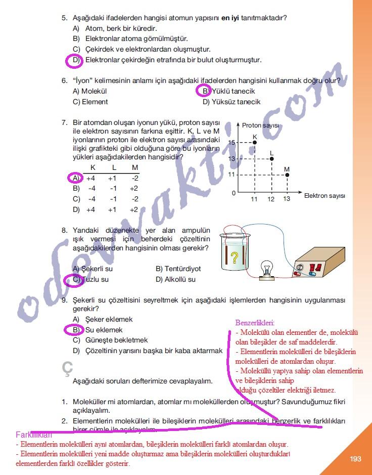 Fen ve teknoloji ders kitabı sayfa 192 193 un cevapları ünite