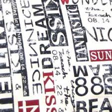Tela letras negras y rojas