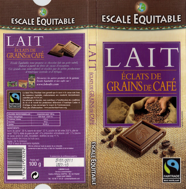 tablette de chocolat lait gourmand escale equitable lait eclats de grains de café