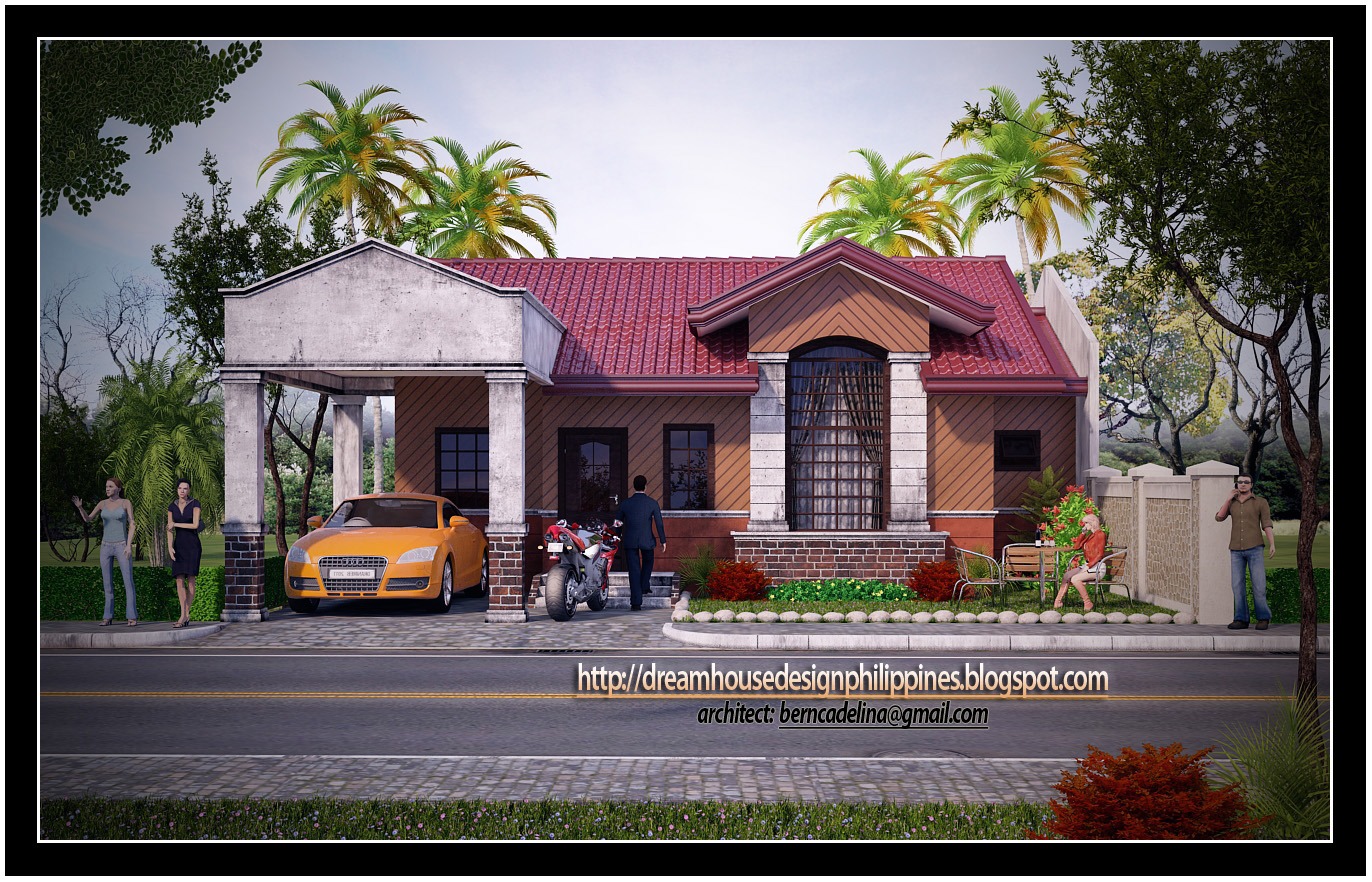 This Bungalow house design is generated from 3d studio max software ...