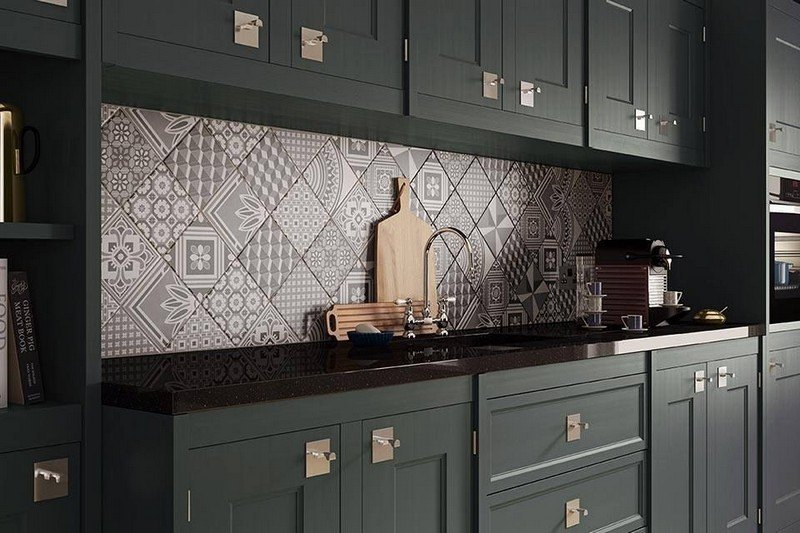 The Patchwork Kitchen Backsplash Tile Designs Works Only When The Kitchen  Cabinets Are Even In Plain Color. Otherwise, The Interior Can Act Kitchig.