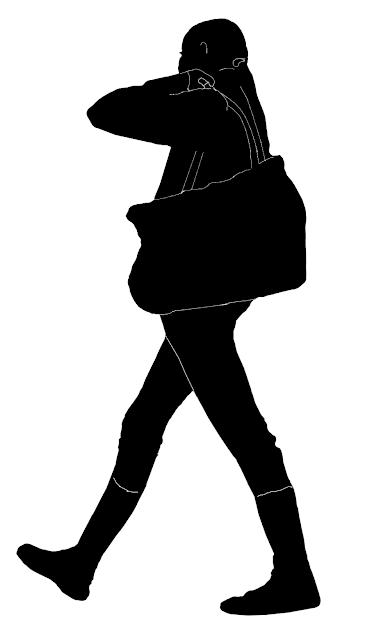 silhouette of a girl with shoulder bag