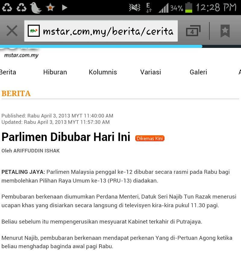 parlimen bubar, pembubaran parlimen 2013, PRU-13, Mengundi 2013,