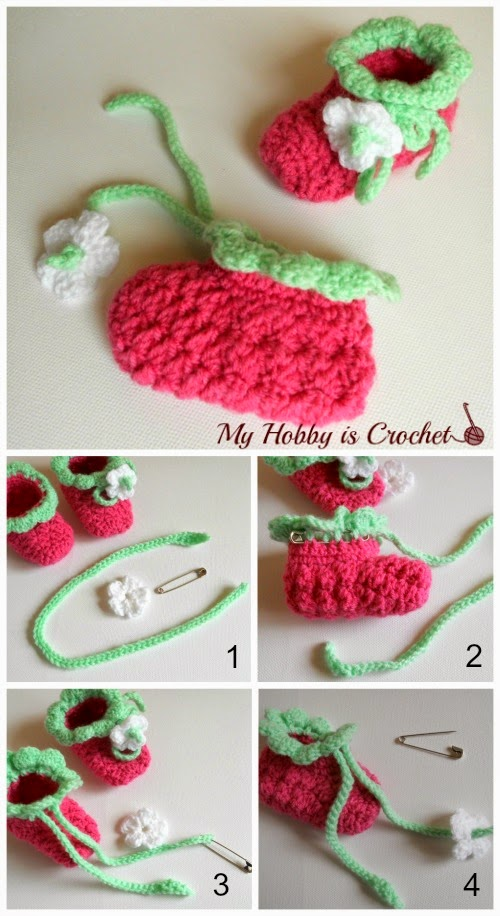 My Hobby Is Crochet Blooming Strawberry Crochet Baby Booties 0 6