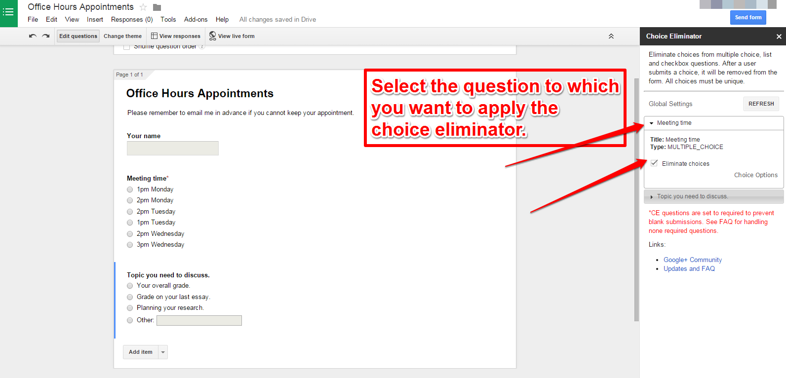 How to Eliminate Choices as They're Used on Google Forms