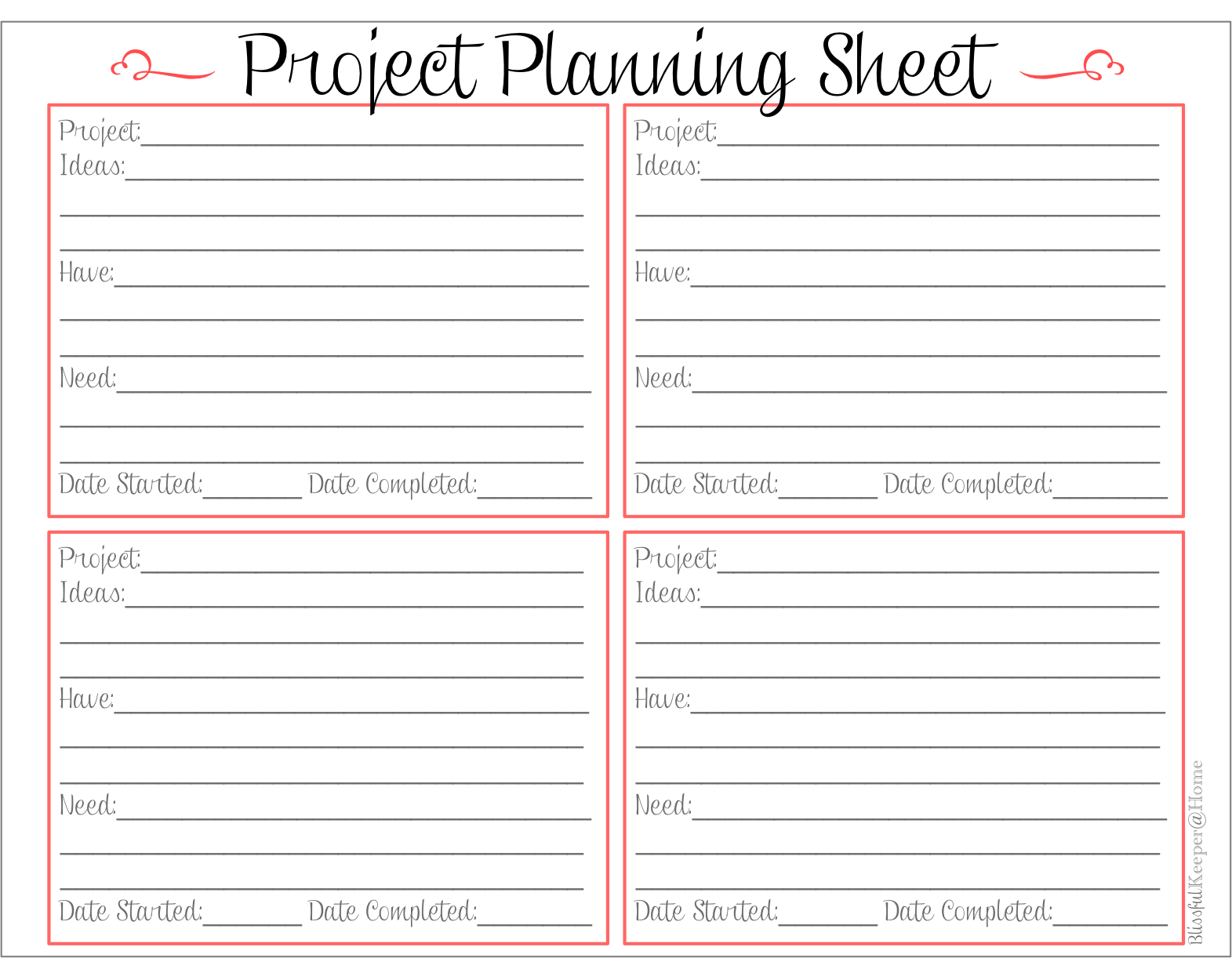blissful keeper at home project planning sheet