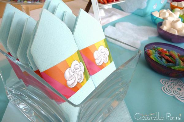 Sweet table arc-en-ciel serviettes / rainbow napkin wraps
