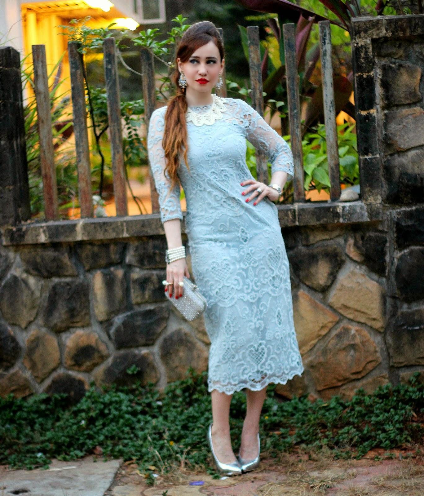 Vero Moda Marquee Grey Lace Dress