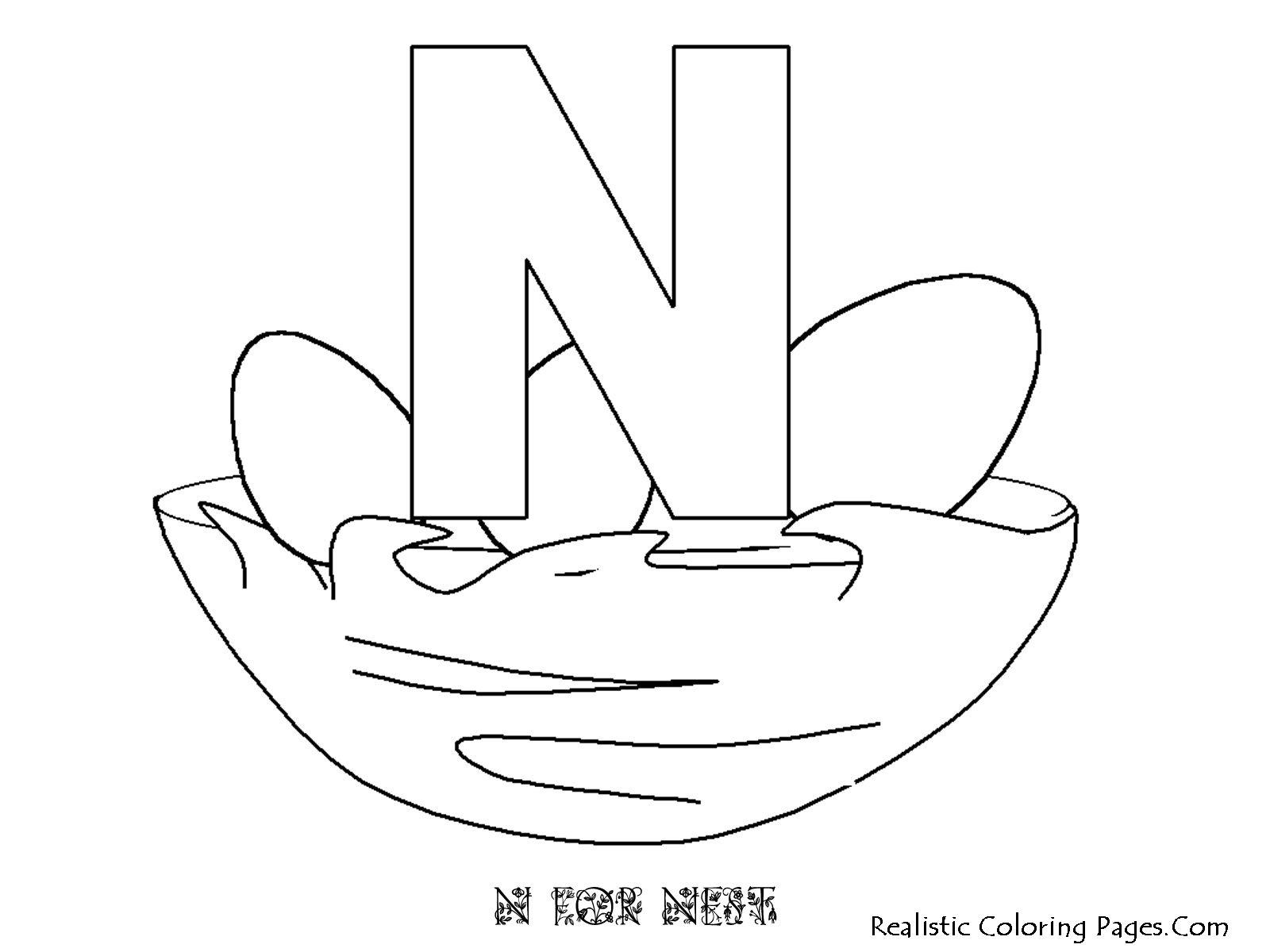Alphabet Coloring Pages N : N letters alphabet coloring sheet realistic pages