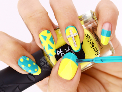 Yellow & Mint  nail art