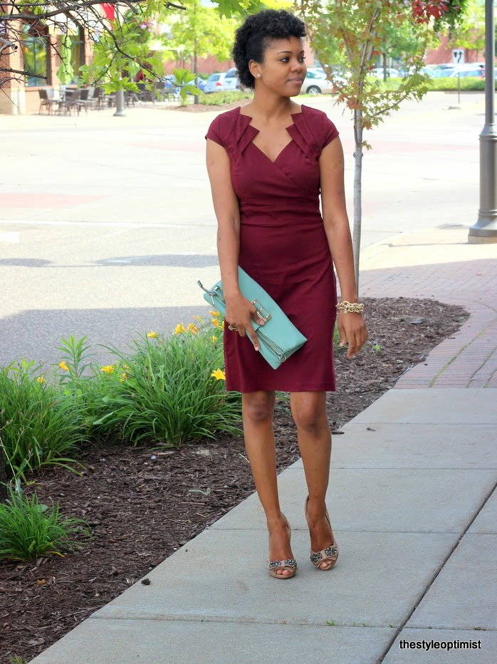 red dress boutique, how to dress for fall, sam edelman lorna pumps, pave link bracelet, twa, natural hair, styleoptimist