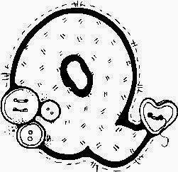 desenho de alfabeto de tecido e botoes para pintar letra Q