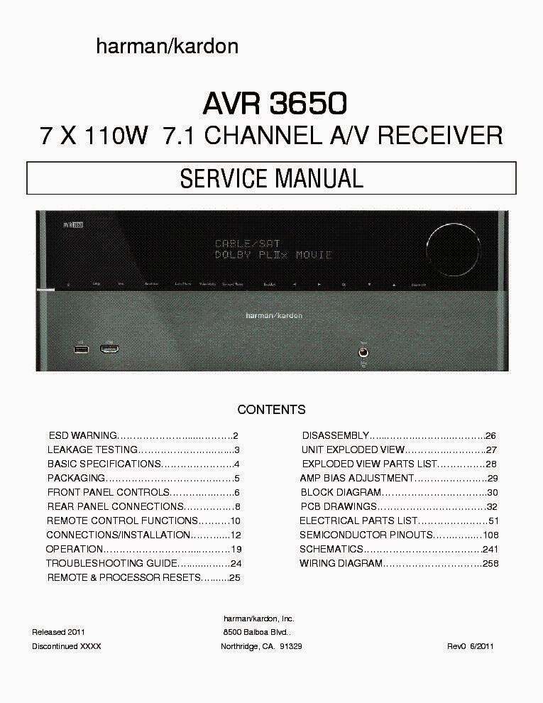 HARMAN KARDON AVR 3650 OWNERS MANUAL